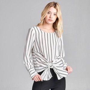 Long Sleeve striped self tie top